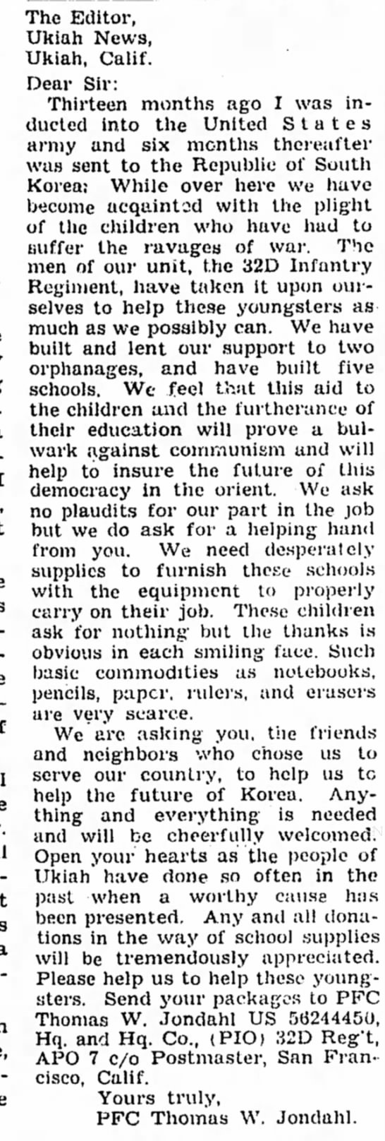Thomas W Jondahl letter to the editor about overseas children help 1955 -
