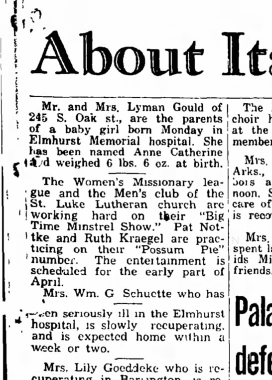 Lyman and Dorothea Gould, daughter's birth announcement. -