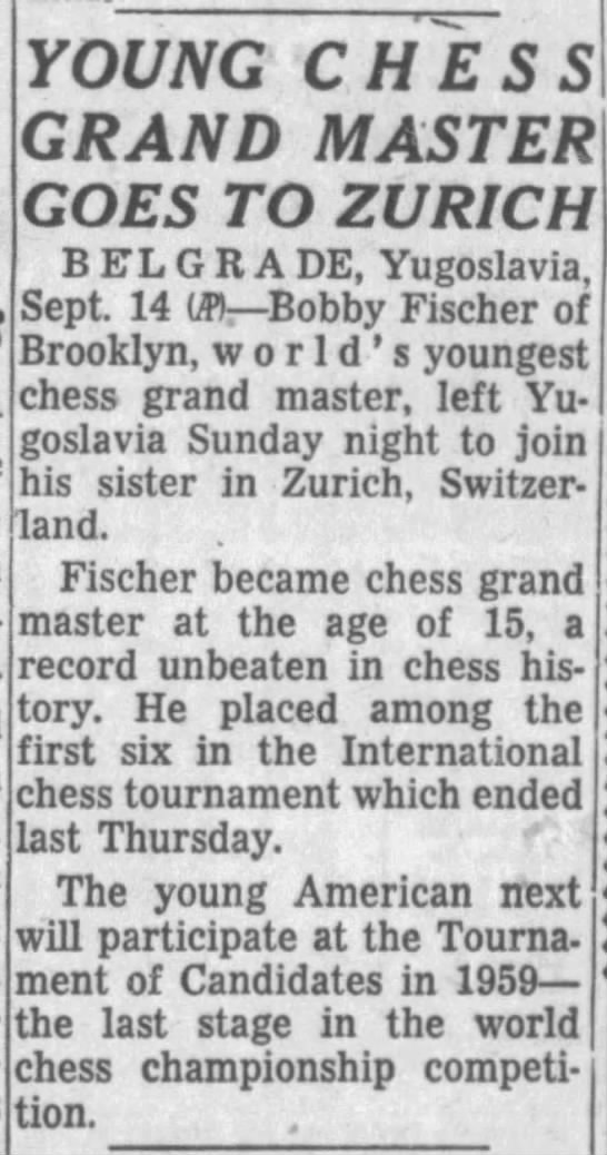 Young Chess Grand Master Goes To Zurich -