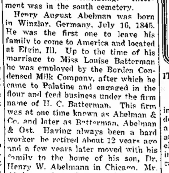 March 22 1918 The Daily Herald, Miss Louise Batterman mentioned in Obituary of Henry August Abelman -