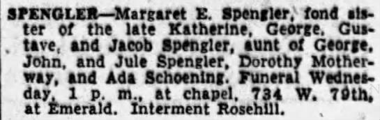 Margaret E Spengler obit 1954 Rosehill -
