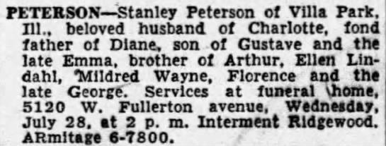 Stanley Peterson obit 1954 Ridgewood -