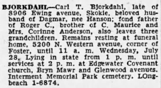 Carl T Bjorkdahl obit 1954 Memorial Park -
