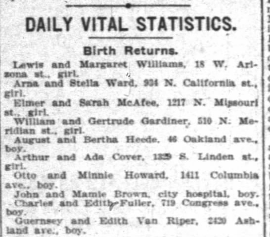 Alfred Henry Heede - Birth Return - DAILY VITAL STATISTICS. Birth Returns. ' Lwts...