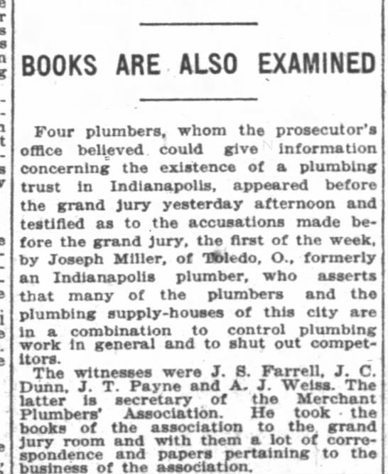 J S Farrell, Plumbers assoc grand jury, June 7, 1907, p 18 -