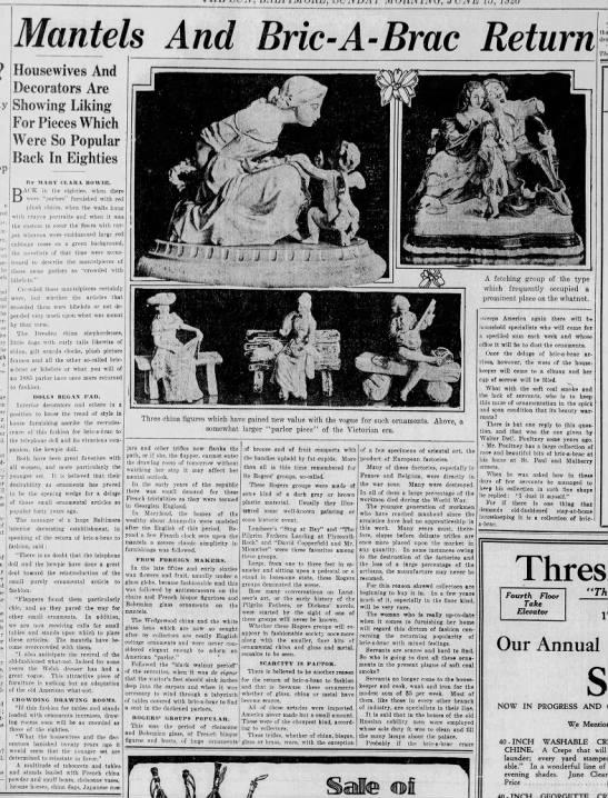 1926 article about bric-a-brac making a comeback -