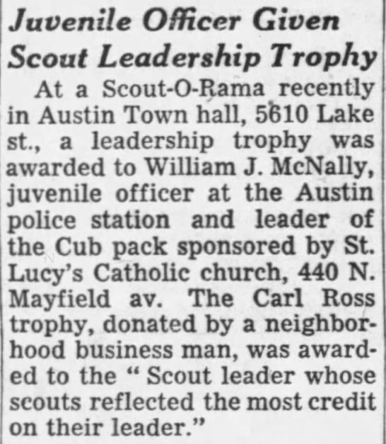 William J McNally Sr. Scout Trophy 24 Mar 1955 -