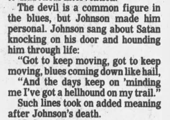 Devil in his music - . The devil is a common figure in the blues,...