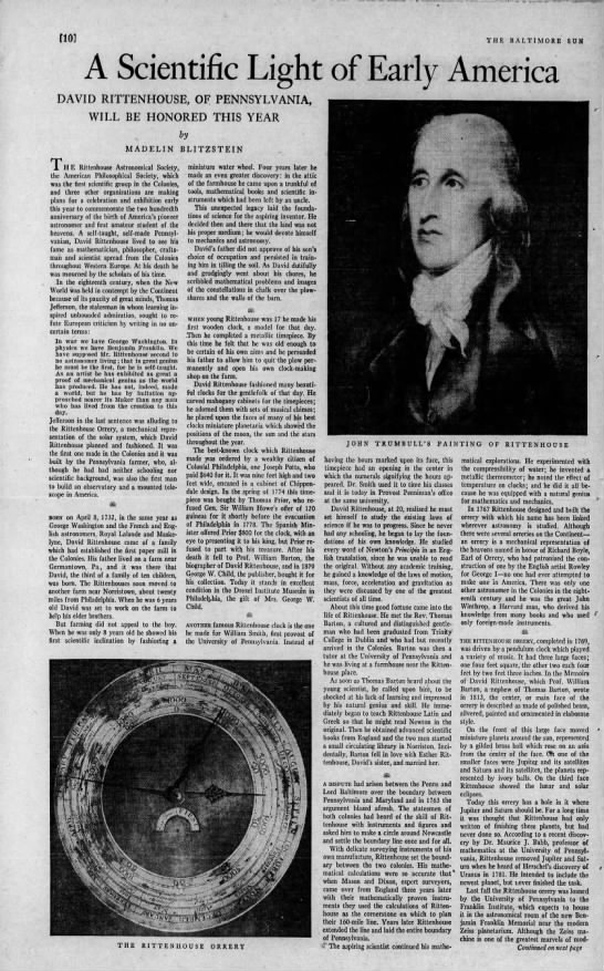 1932 Baltimore Sun tribute to David Rittenhouse, page 1 of 2 -