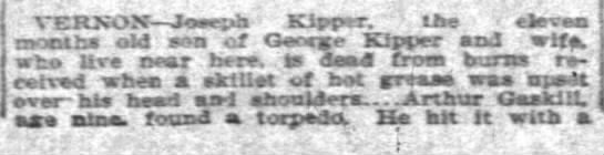 Joseph Kipper killed from burns 1910 -