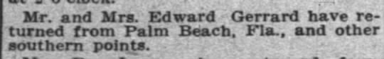 Mar 1915 Back from vacation -