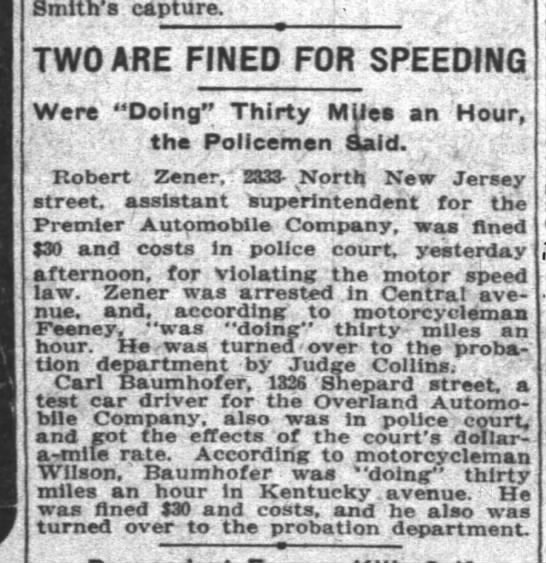 Indianapolis News 12 Apr 1912 page 26 col 4 Carl Baumhofer speeding -