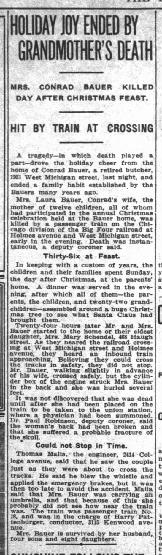 Indianapolis News28 Dec 1915 page 18 - HOLIDAY JOY ENDED BY GRANDMOTHER'S DEATH MRS....