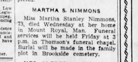 Martha Stanley Nimmons 26 May 1938 -