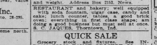 S. C. Jaques sale of bakery in Thorntown Ind News 26 April 1918 P26 -