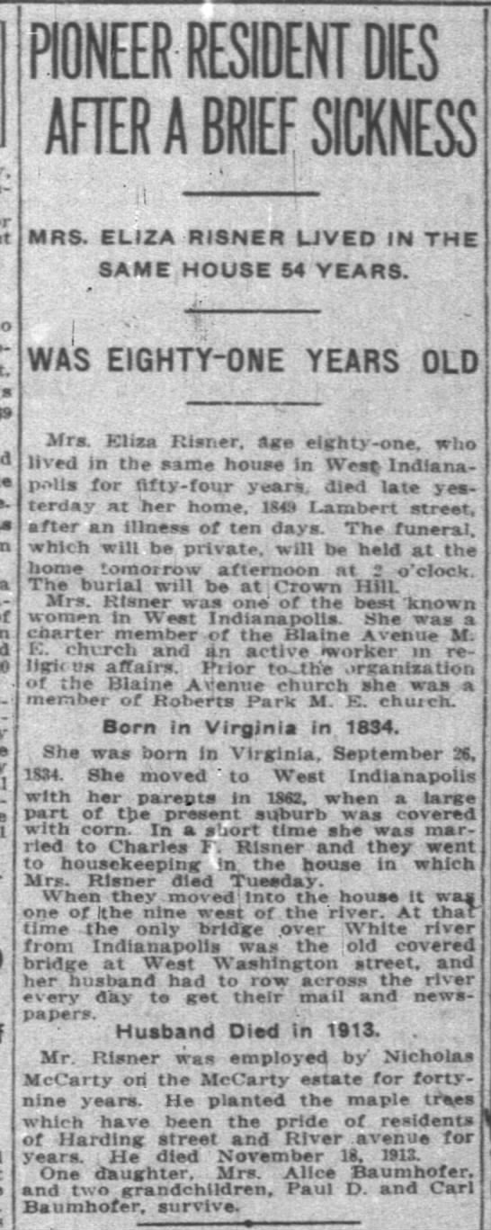 The Indianapolis News 31 May 1916 Eliza Risner death -