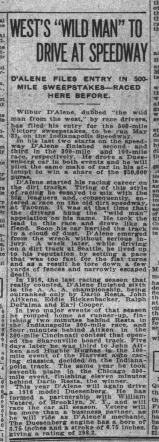"""1916 AAA National Championship was """"the last racing season that really counted"""" -"""