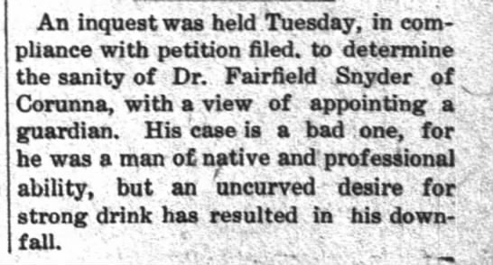 Snyder_Fairfield (Drunkenness) The Waterloo Press (Waterloo, Indiana) 20 April 1911 p 1 -