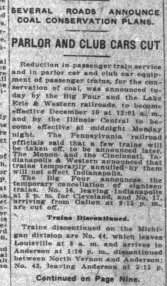 Service reduced to save coal Indy News 8 Dec 1919 -