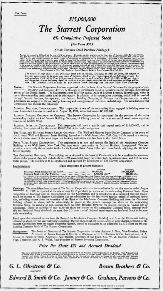 Advertisement for Starrett Corporation bonds -
