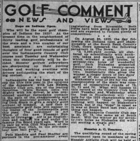 Alf Ward who learned golf under James Braid, newcomer to Indianapolis pros Indy News 7 Jun 1923 p25 -