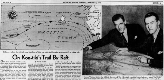 The Kon-Tiki route, and Thor (on the right) -