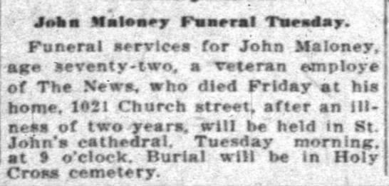 John Maloney death notice Indianapolis -