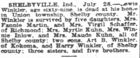 Louis / Lewis Winkler Obit 28 july 1928 Indianapolis News -