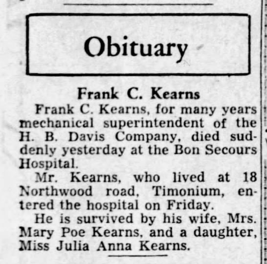 Frank C Kearns obituary 14Oct1944 -