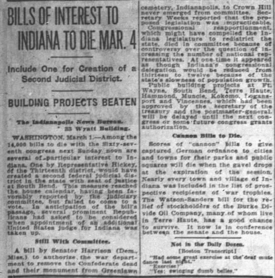 """""""Bills of Interest to Indiana to Die""""; Indy News; March 1, 1923 -"""