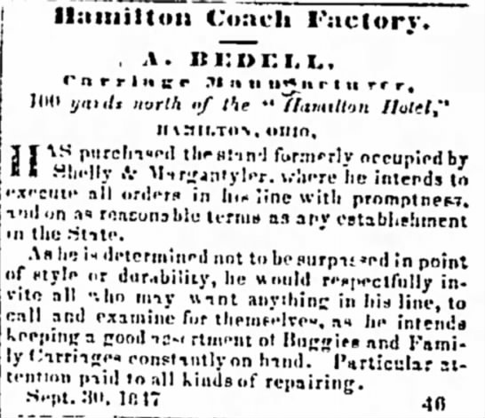 Hamilton Coach Factory A Bedell Carriage Manufacture -