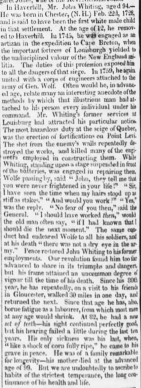 John Whiting obit - age 94, born 22 Feb 1728 in Chester (N.H.) - age 12, moved to Haverhill, etc -