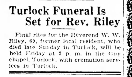Turlock Funeral is set for Rev. Riley -