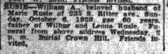 The Indianapolis News 7 Oct 1929 page 20 col 2 William A Rusie (jr) obit -