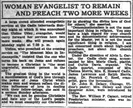 - WOMAN EVANGELIST TO REMAIN AND PREACH TWO MORE...