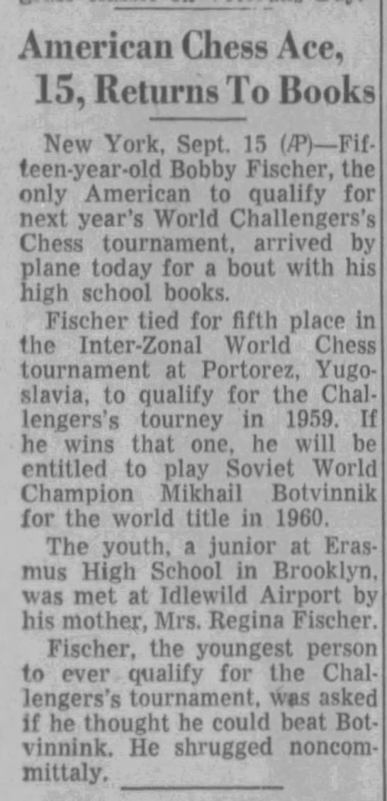 American Chess Ace, 15, Returns To Books -