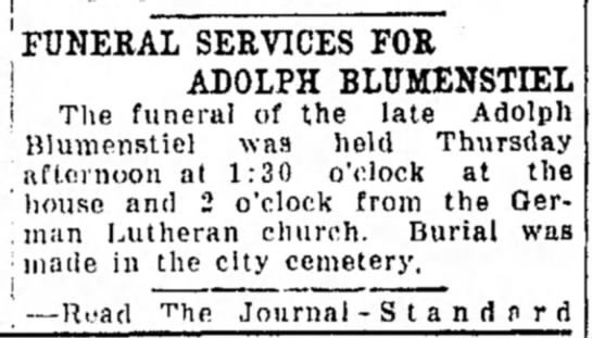 Adolph Blumenstiel funeral. 15 April 1921 Freeport Journal-Standard -