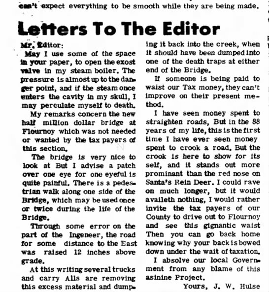 Letters To The Editor- J.W. Hulse -