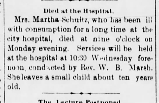 Martha Schultz Death Notice -