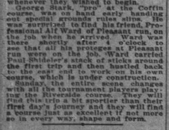 Alf Ward on job at 4am, Geo Stark of Coffin 23 Jun 1923 p18 c1 - whenever thev wlhed to becln. - !oriee Stark,...