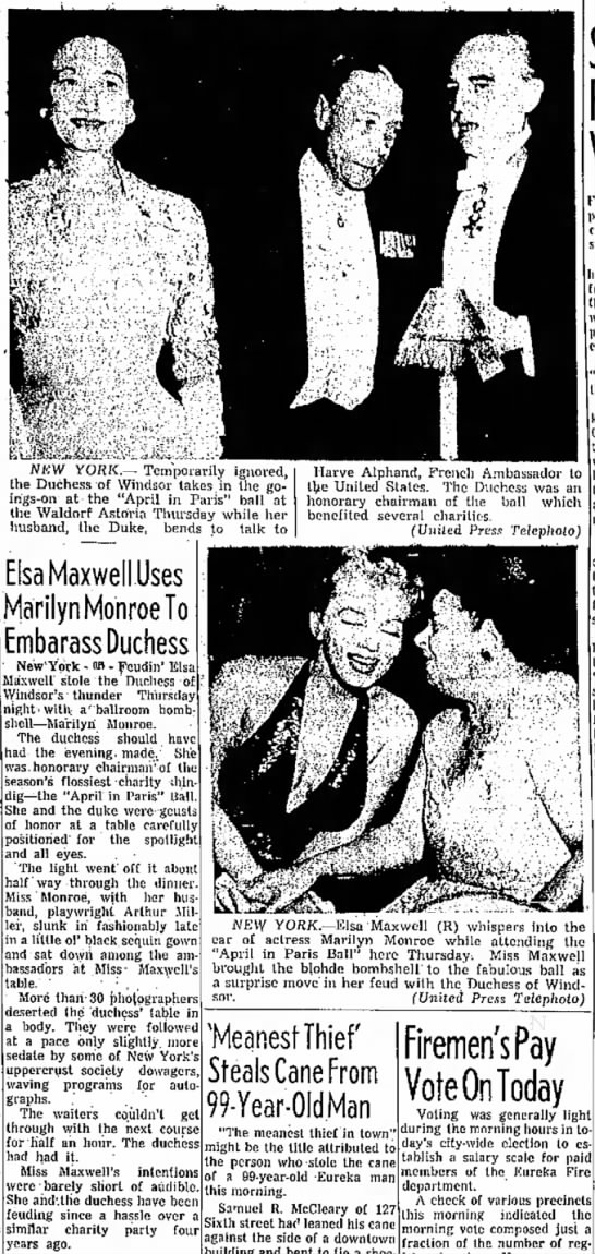 Elsa Maxwell Uses Marilyn Monroe to Embarrass Duchess April in Paris Ball 1957 -