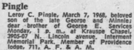Leroy C Pingle obit March 1968 Memorial Park -