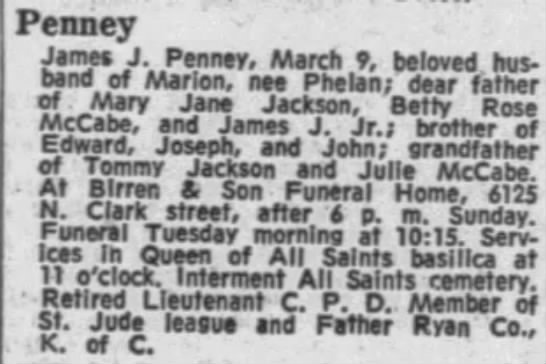 James J Penney obit March 1968 All Saints -