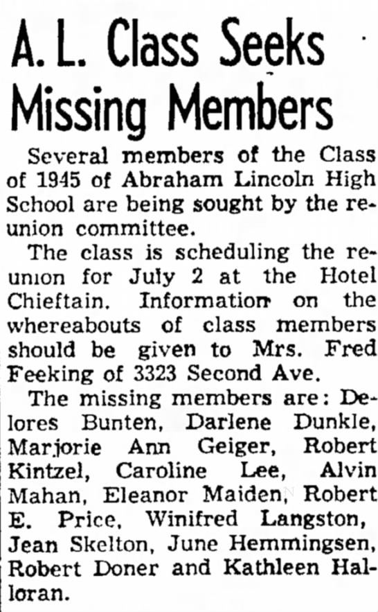 A. L. Class Seeks Missing Members - Council Bluffs Nonpareil - 23 Mar 1955, page 13