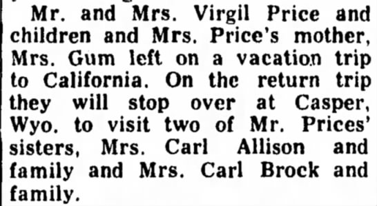 - Mr. and Mrs. Virgil Price and children and Mrs....