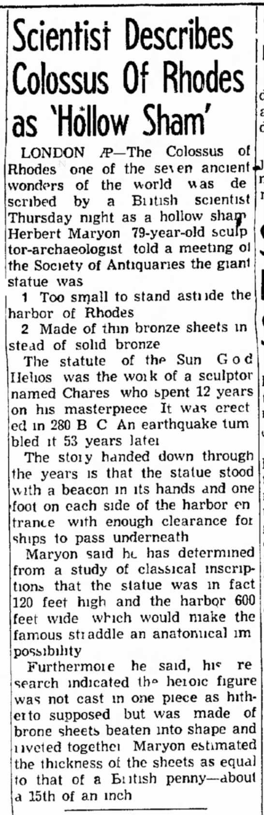 Herbert Maryon on the Colossus of Rhodes, Council Bluffs Nonpareil, 6 December 1953 -