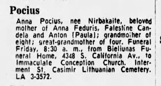 Anna Pocius Death Notice -