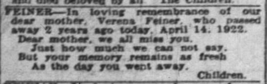 Indpls News, 14 April 1924, p 22, c 2. Verena Feiner. -