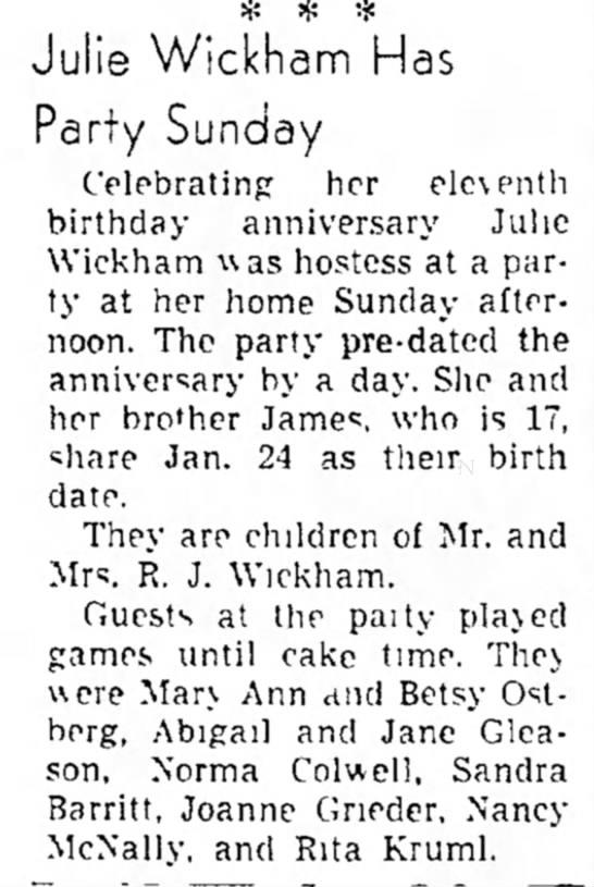 Julie Wickham and James 1949 -