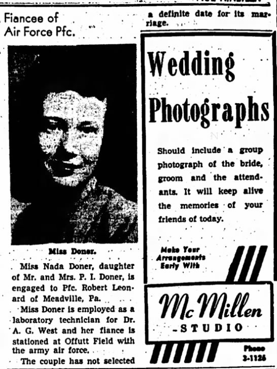Nada Doner engagement announcement - Council Bluffs Nonpareil - 12 Jun 1949, page 34